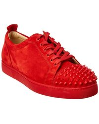 Christian Louboutin - Louis Junior Spikes Suede Sneaker - Lyst