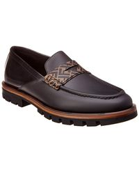 Fendi - Ff Logo Leather Loafer - Lyst
