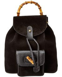 73383fbb5c6b Lyst - Gucci Limited Edition Black Leather Bamboo Backpack in Black