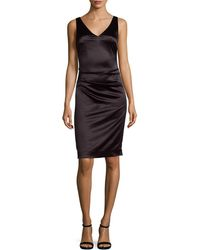 Nicole Miller - Shirred V-neck Sheath Dress - Lyst