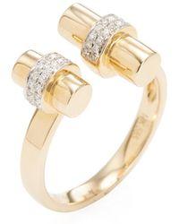 Vendoro - 14k Yellow Gold & 0.12 Total Ct. Diamond Double Bar Ring - Lyst