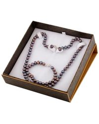Splendid - Silver 7-8mm Freshwater Pearl Bracelet & Necklace Set - Lyst