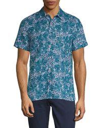 Perry Ellis - Leaf-print Button-down Shirt - Lyst