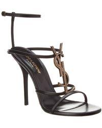 Saint Laurent - Cassandra 115 Leather Ankle Strap Sandal - Lyst