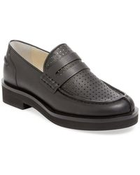 Jil Sander Navy - Perforated Leather Penny Loafer - Lyst