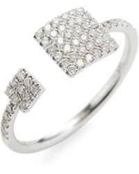 Meira T - White Gold Double Square Ring - Lyst