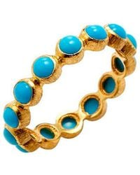 Adornia - Fine Jewellery 18k Yellow Gold 2.00 Ct. Tw. Turquoise Eternity Ring - Lyst