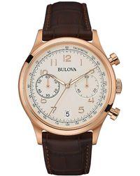 Bulova - Men's Classic Rose Goldtone Brown Leather Strap Chronograph Watch, 97b148 - Lyst