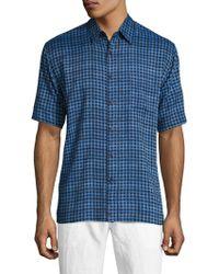 Tocco Toscano - Short Sleeve Silk Chequered Sportshirt - Lyst