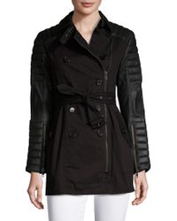 Walter Baker - Keanu Leather Sleeve Trench Coat - Lyst