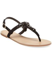 Elorie - Jeweled Suede Thong Sandal - Lyst