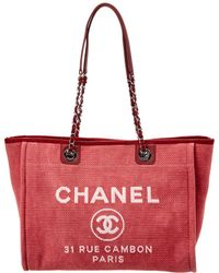 Chanel - Red Canvas Large Deauville Tote - Lyst