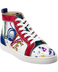 Christian Louboutin - Louis Junior Spikes Suede & Leather Sneaker - Lyst