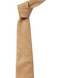 Dunhill Gold Check Silk & Linen-blend Tie - Metallic