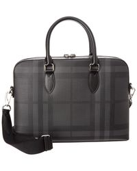 Burberry - Slim Barrow London Check Leather-trim Briefcase - Lyst
