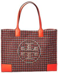 2ce7a372bd84 Lyst - Tory Burch Robinson Plaid Open Dome Satchel in White