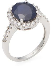 Rina Limor | Diamond & Diffused Sapphire Oval Ring | Lyst
