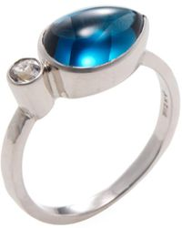 Anzie - Sterling Silver & London Blue Topaz Classique Double East West Stackable Ring - Lyst