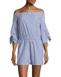 The Vanity Room - Striped Off-the-shoulder Neckline Jumpsuit - Lyst
