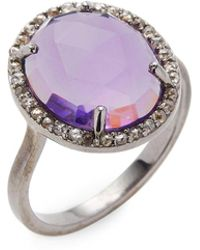 Bavna - Silver Ring With Champagne Rose Cut Diamonds & Amethyst Stone - Lyst
