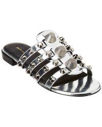 Balenciaga - Giant Studded Metallic Leather Sandal - Lyst