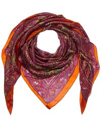 Hermès - Orange & Purple Silk Scarf - Lyst