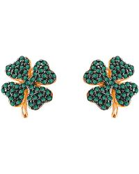 Gabi Rielle Clover Cz Earrings - Green
