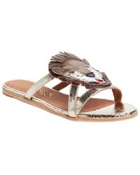 F-Troupe - Lion Metallic Leather Sandal - Lyst