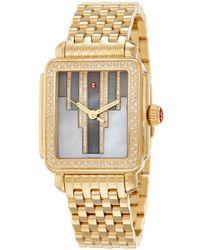 Michele - Women's Stainless Steel Diamond Watch - Lyst
