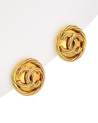 Chanel - Gold-tone Rope Twist Cc Clip-on Earrings - Lyst
