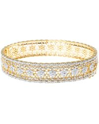 Jardin - Pave Floral Filigree Hinge Bangle - Lyst