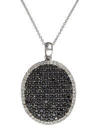 Effy - Black Diamond & 14k White Gold Large Oval Pendant Necklace - Lyst