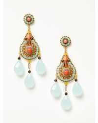 Miguel Ases - Pink Coral And Smoky Quartz Earrings - Lyst