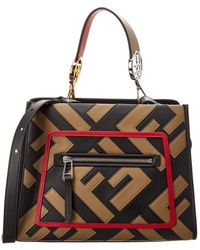 c25708c071 Lyst - Fendi Monster Roll Leather Tote in Black