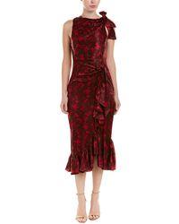 Cinq À Sept - Nanon Sleeveless Ruched Floral-print Midi Cocktail Dress - Lyst