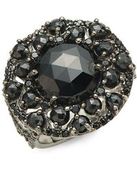 Bavna - Black Spinel And Sterling Silver Cocktail Ring - Lyst