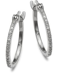 Danni - Diamond And 14k White Gold Hoop Earrings - Lyst