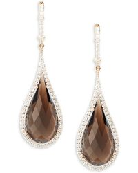 Roberto Coin | Basic Gold Diamond & 18k Rose Gold Drop Earrings | Lyst