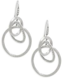 Marco Bicego - Diamonds &18k White Gold Link Drop Earrings - Lyst