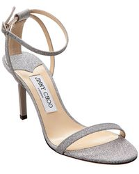 2c4268cba855 Lyst - Jimmy Choo Laurita 115 Silver Mirror Leather And Fine Glitter ...