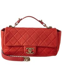 fd8e13549749 Chanel - Red Quilted Soft Caviar Leather Small Chic Flap Bag - Lyst