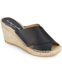 Bettye Muller - Dijon Leather Wedge Espadrille Mule Sandals - Lyst