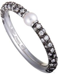 Mikimoto - 18k & Rhodium 0.35 Ct. Tw. Diamond & Pearl Ring - Lyst