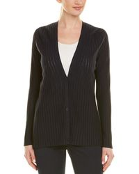 Lafayette 148 New York Solid And Sheer Cardigan - Black