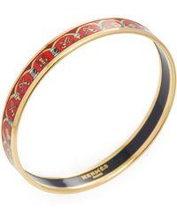 Hermès - Vintage Red & Gold Instruments Enamel Narrow Bangle Bracelet - Lyst
