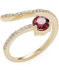 Danni | 14k Yellow Gold Garnet & Diamond Spiral Ring | Lyst