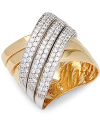 Roberto Coin - Yellow Gold & Diamond Wide Cross-over Ring - Lyst