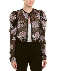 Anna Sui - Cross Stitch Rose Embroidered Lace Jacket - Lyst