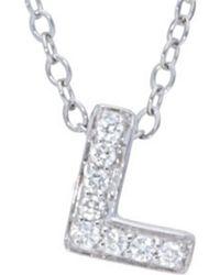 Nephora - 14k Diamond Letter L Initial Necklace - Lyst