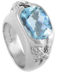 Tiffany & Co. - Platinum 0.30 Ct. Tw. Diamond & Aquamarine Ring - Lyst